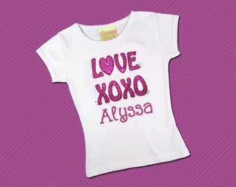 Girl's Valentine Shirt Love XOXO with Embroidered Name and Bling