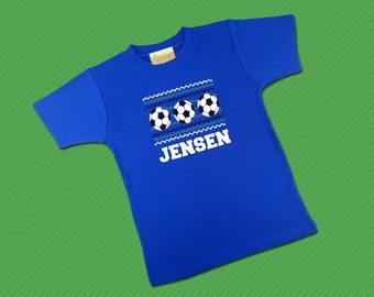 Boy's Soccer Shirt Faux Smocked with Embroidered Name