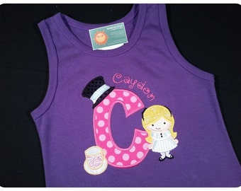 Alice in Wonderland Dress Purple Frill with Initial and Embroidered Name