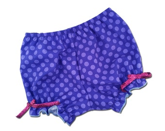 Girl's Purple Polka Dot Bloomers with Pink Glitter Bows - F11
