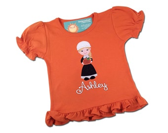 Girl's Thanksgiving Shirt with Glittery Pumpkin Pilgrim and Embroidered Name