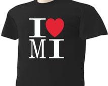 I Love Michigan T-Shirt Heart MI