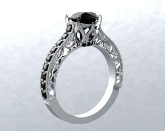 Black Moissanite Ring 1.20ct Black Moissanite/ Black Spinel & Diamond Accents Engagement Ring Wedding Victorian Forever Love Ring 14k Gold