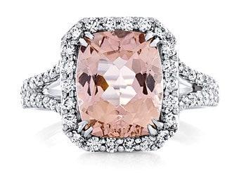 Morganite Engagement Ring Diamond Halo Ring 3.48ct Morganite .70ct Diamonds Wedding Anniversary Split Shank Ring Pristine Custom Rings