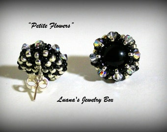 "Post earrings tutorial with Swarovski crystals & seed beads. ""Petite flowers"" PDF instructions step by step"