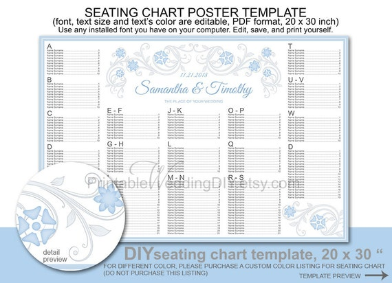 wedding seating chart poster template printable diy reception. Black Bedroom Furniture Sets. Home Design Ideas