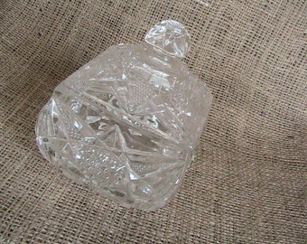 Vintage Crystal Candy Dish Lidded Footed Square Shape  Soap Trinket Dish Flower Anchor Hocking Home Decor