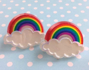 Rainbow Cupcake Topper Rings (12), Rainbow Party Favor