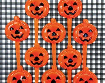 10 Halloween Pumpkin Picks Cake Toppers Jack o' Lanterns Halloween Cupcake Picks Plastic Cake Picks Decorations Baking Party Supplies