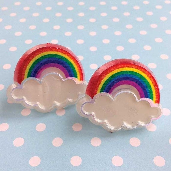 Rainbow Cupcake Topper Rings 12 Rainbow Party Favor