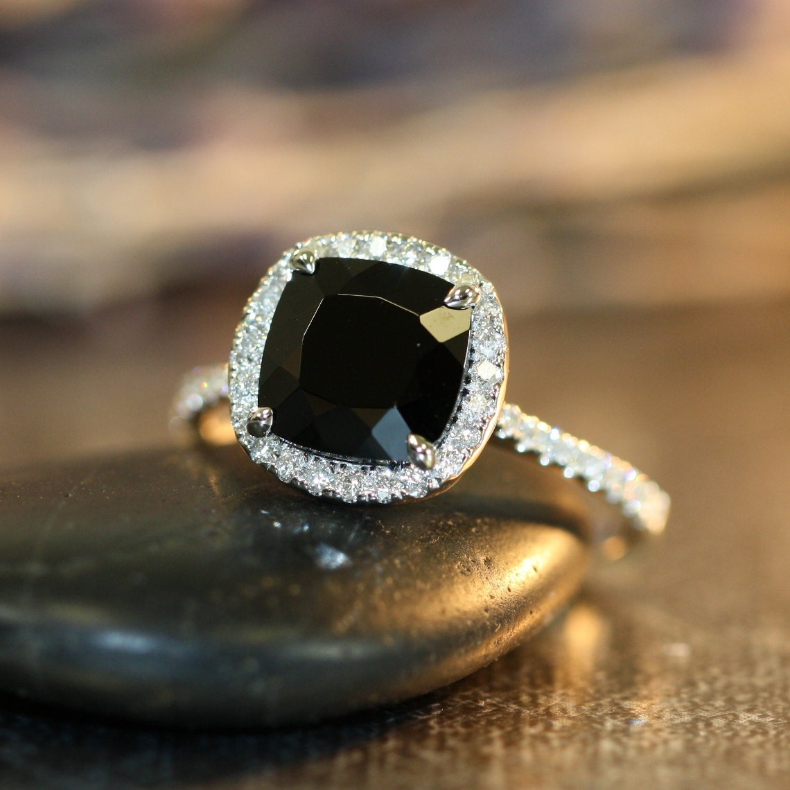 Black Spinel Halo Diamond Engagement Ring in 14k by ...