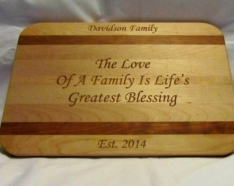 Personalized Cutting Board - Custom Engraved Family Small