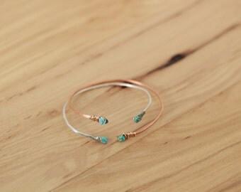 Twist Bracelet // Cuff // Turquoise Bead ends