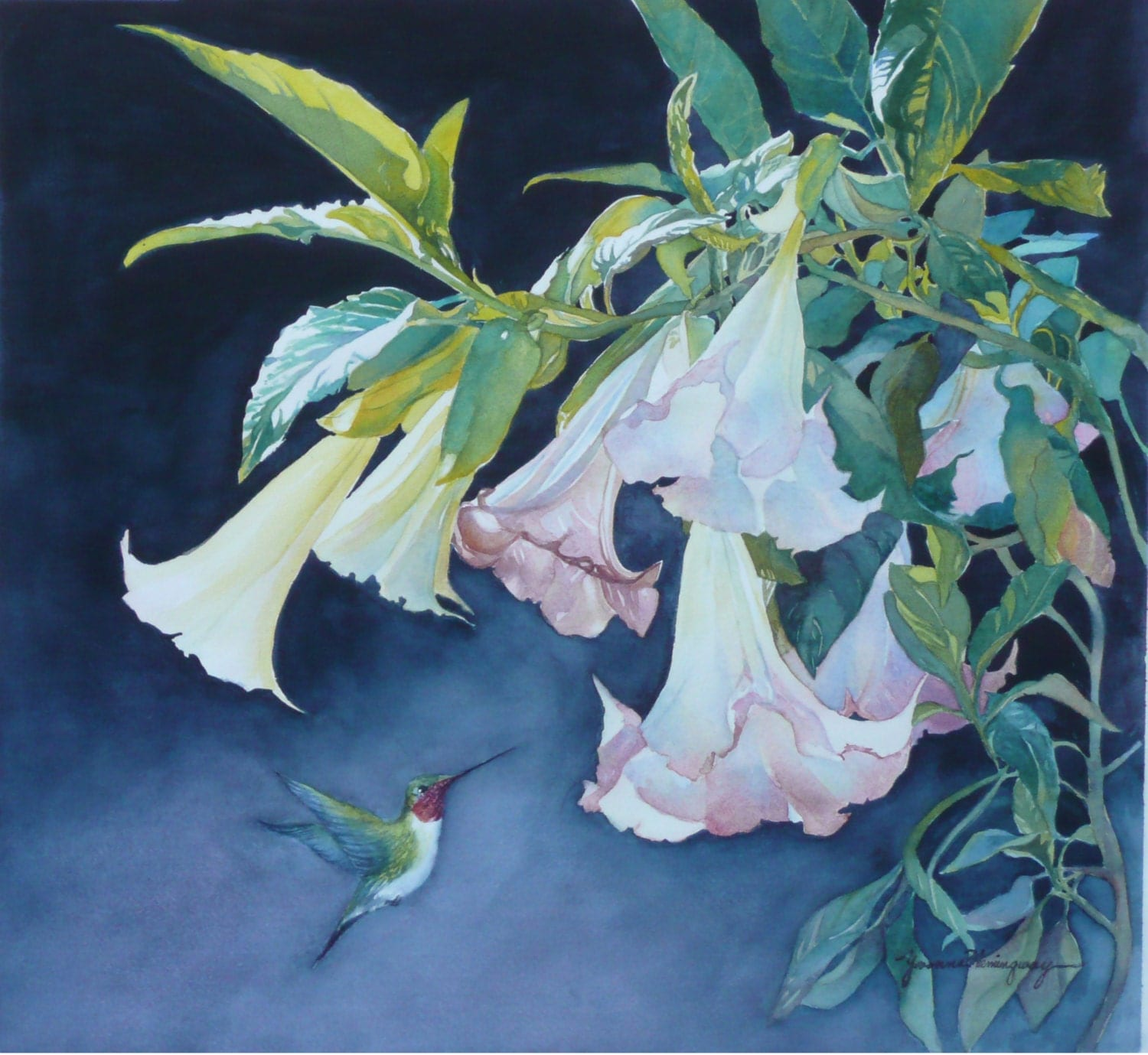 Angel Trumpet Flower Painting With by YvonneHemingway on Etsy