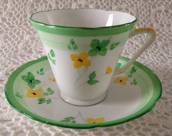 Art Deco Royal Grafton Tea cup and Saucer - Hand Painted