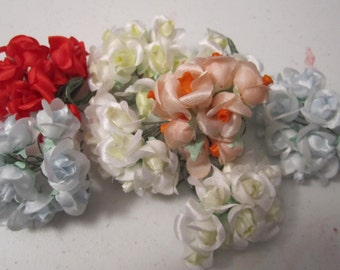 DESTASH /// Small rose buds, many colors, 12 bunches of 12 stems, wedding, scrapbooking, cardmaking, cake decorating, millinery, dolls
