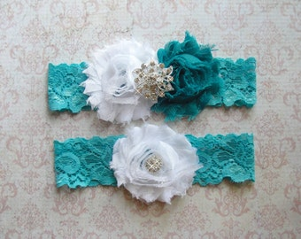 Aqua Garter Set, Garter Wedding, Wedding Garter Belt, Thigh Garter, Blue Garter, Garter Wedding, Something Blue, Lace Garter, Teal Garter