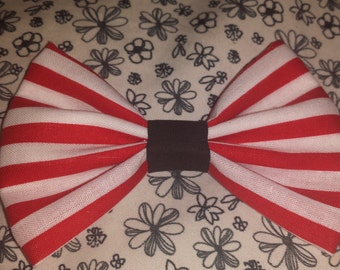 Red and White Stripped Hair Bow