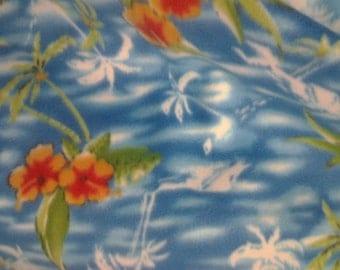 Hawaiian Floral Fleece Fabric By The Yard