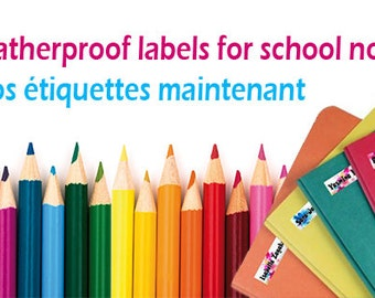 Waterproof personalized labels for Back to School