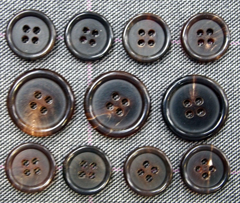 Genuine Dark Brown Horn Buttons Set for suit jacket blazer