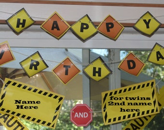 Personalized Birthday Banner for Construction Party Printable Download, Construction Birthday, Road signs.