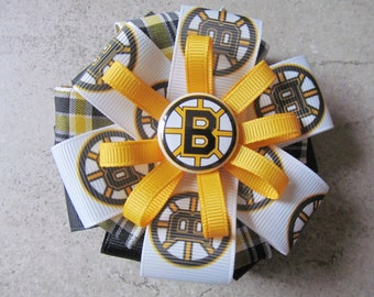 BOSTON BRUINS Hair Bow - 4 inch stacked ribbon style with decorative button center