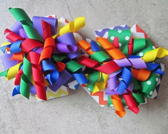 RAINBOW CHEVRON CORKER Hair Bow - 4 inch stacked ribbon style with coordinating corker ribbons