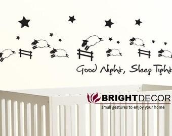 Counting Sheep Sticker Wall Decal - Nursery Children Baby - Good night, Sleep tight - vinyl