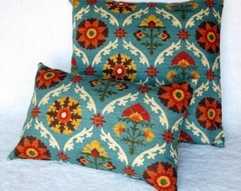 Pillow cover 18x18, blue, orange, cream, dark brown cushion cover,  floral pillow cover, throw  pillow cover