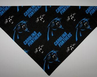 NFL Carolina Panthers Dog Bandana Scarf – Double Sided / Slide over Collar – Size Small, Medium, Large, X-Large