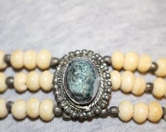 Unique Vintage Native American Bone, Silver & Crysocola pendant - Very Old !