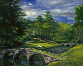 Fathers Day golf gift. Augusta National Golf Course, Hole #12. Print of original oil painting.