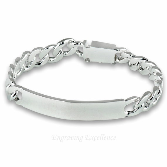 items similar to engraved s id bracelet silver plated