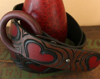 Hearts ~ hand-carved 'n' tooled leather belt