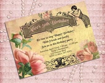 Vintage Style Women's Birthday Party Invitation  40th 50th 60th 70th 80th 90th - Printable DIY
