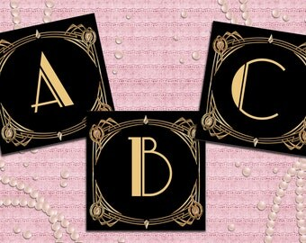 Great Gatsby Art Deco Alphabet, Wedding Decoration -  1920's, 20's Style - Black and Gold - Instant Download