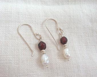 Natural Garnet & Fresh Water Pearl Dangle Earrings