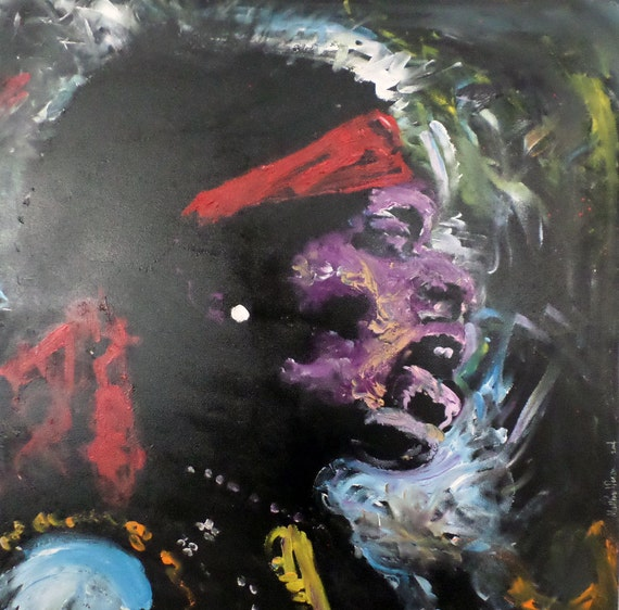 Large Pop Art Painting 36x36 Jimi Hendrix Art Acrylic Painting Music Art Rock Art Expressionist Art Contemporary Art Large Canvas Painting