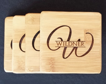 Bamboo Drink Coasters, Custom Engraved - Personalized coasters are available for a Housewarming, Birthday, Anniversary or Wedding Gift