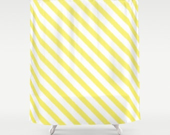 Shower Curtain - Yellow Stripes - Yellow Shower Curtain - Teen Shower Curtain - Girls Shower Curtain - Stripes Shower Curtain - Yellow