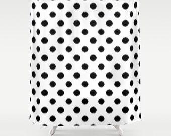 Polka Dot Shower Curtain, Ikat, Black and White, Girls Bathroom Decor, Girls Shower Curtain, Standard or Extra Long, Fabric Shower Curtain
