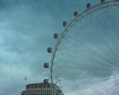 london eye photo uk travel fine art photography clouds sky overcast home decor ferris wheel pastel colors dark deep blue