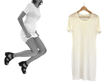 Vintage clothing - Apertured knit dress 90s grunge style