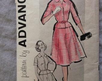 1950's Vintage Pattern Advance 9535 Two-Piece Dress