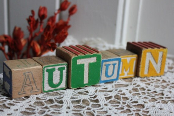 Vintage alphabet wooden Blocks - Fall Autumn Pumkins blocks - vintage home decor