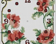 Get 2 files! Cross stitch clock patterns, cross stitch clock face, Instant download, JPG cross stitch patterns, hand stitch clock chart