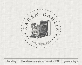 Premade Photography round logo design and photography logo Watermark.Vintage Camera round  logo - Eps and PNG files