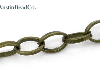 3 feet Bronze Chain, Oval 6mm X 8mm, Open Link Chain, Jewelry Supplies-Antique Bronze Metal Chain, 36 inches, 6mm X 8mm (J028)