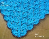 Crochet Pattern Baby Blanket -Turquoise Baby Blanket with a brown trim.PDF file-pattern #3
